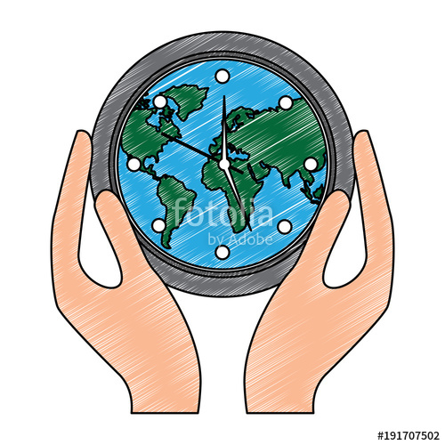 500x500 Hands Holding Clock With Earth Map Inside Environment Safety