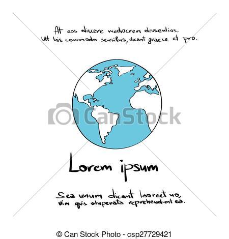 450x470 Globe Logo Blue World Map Hand Draw Color Icon Vector Vector