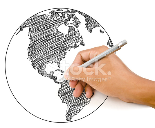 534x440 Hand Drawing World Map Globe Line On The Stock Photos