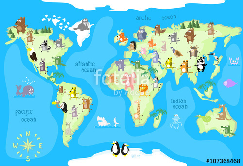 World map drawing for kids at getdrawings free for personal 500x342 concept design world map with animals of all the continents and gumiabroncs Images