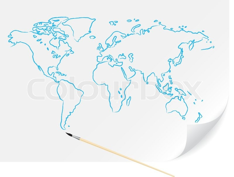 800x606 Drawing Blue Map With Brush On The White Paper Stock Vector