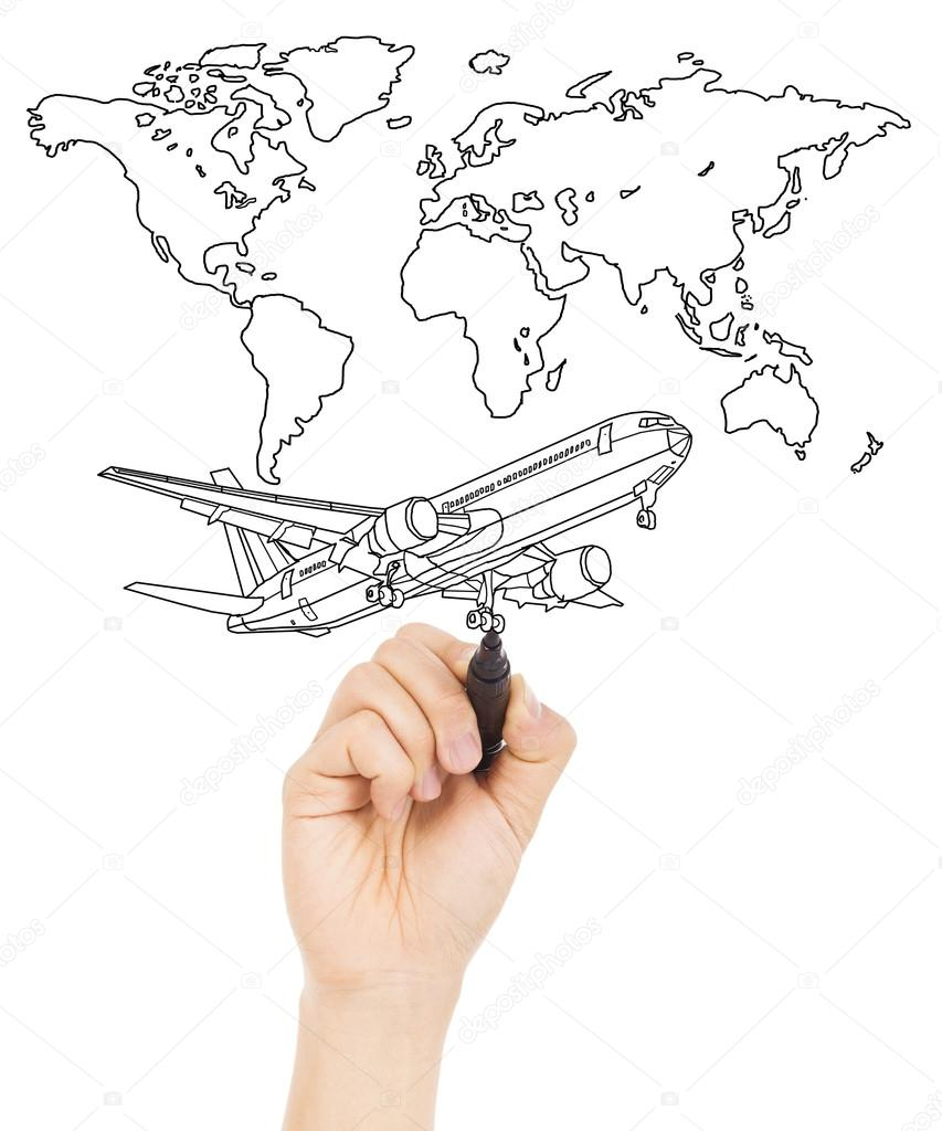 853x1024 Hand Draw A Concept Picture About World Map And A Airplane Stock