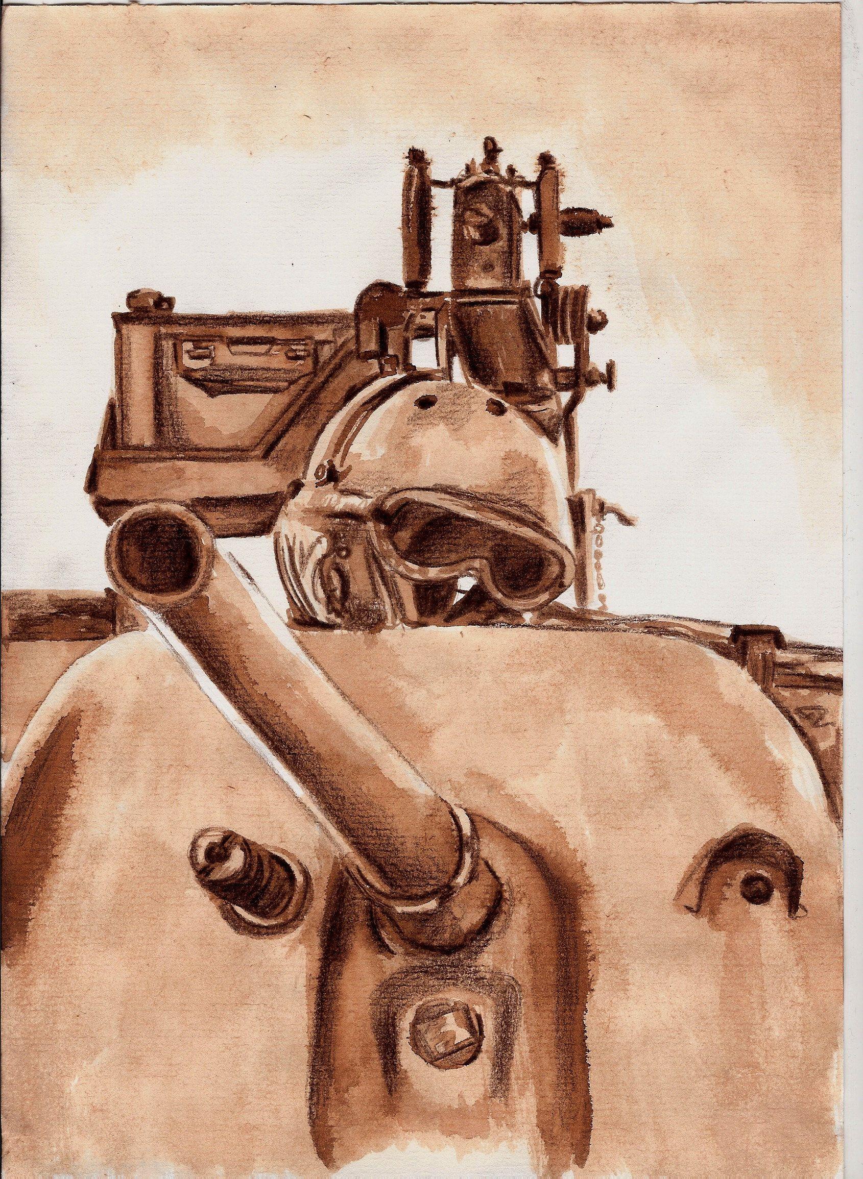 1690x2310 Drawing A World War 2 Tank Vintage Memorial Dessin Art Artwork