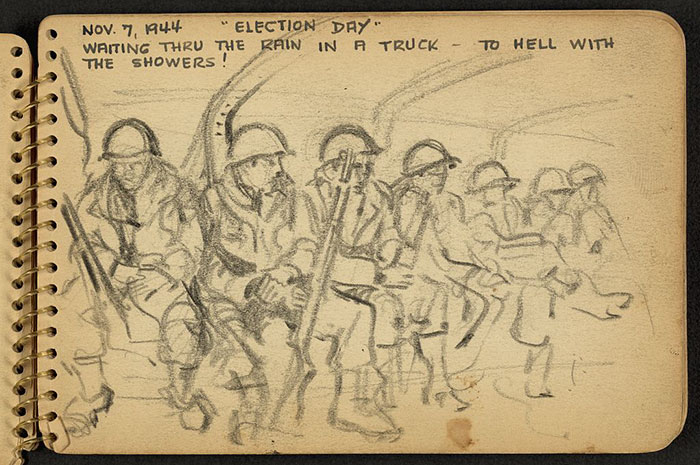 700x465 21 Year Old Wwii Soldier's Sketchbooks Show War Through The Eyes
