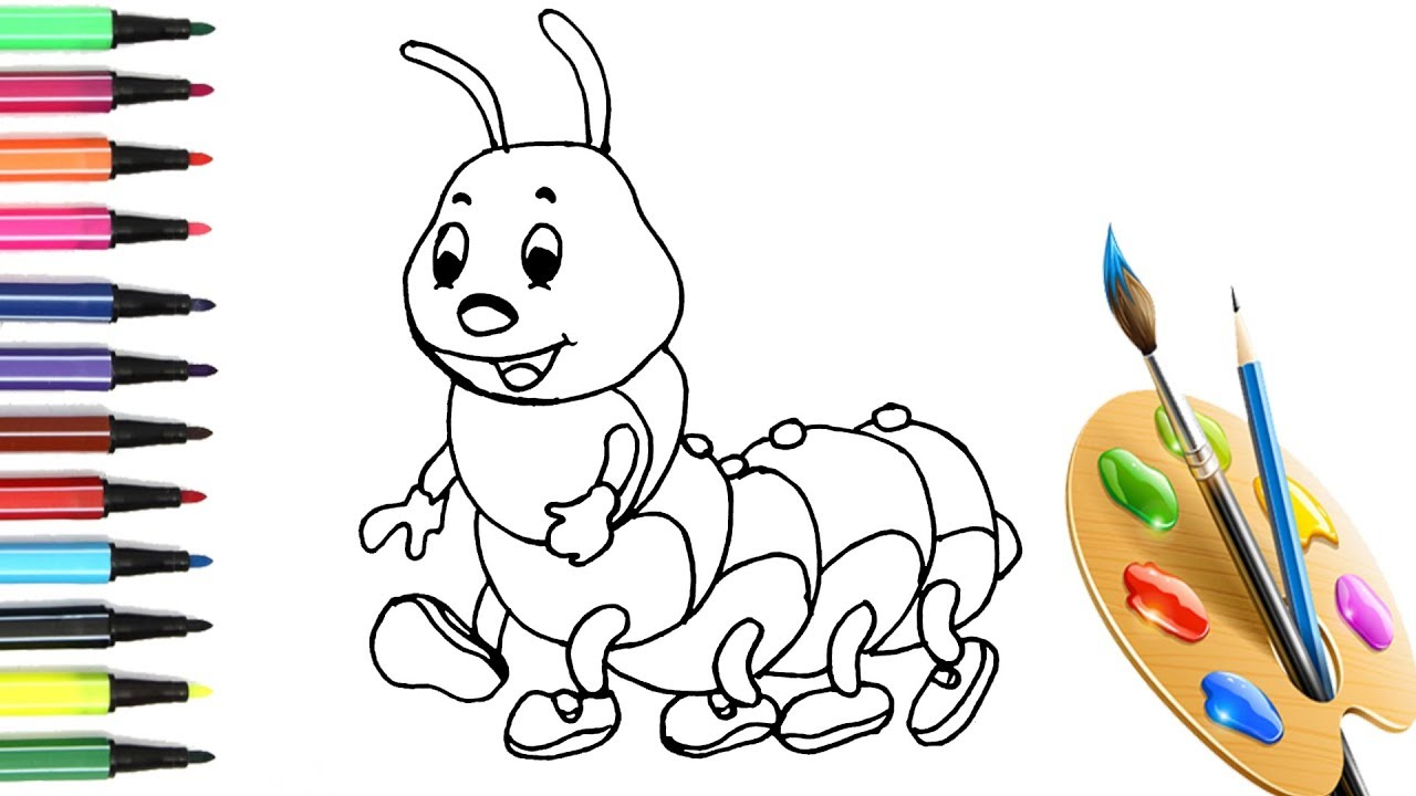 1280x720 How To Draw And Color A Cute Worm Cartoon Worm Cartoon Drawing