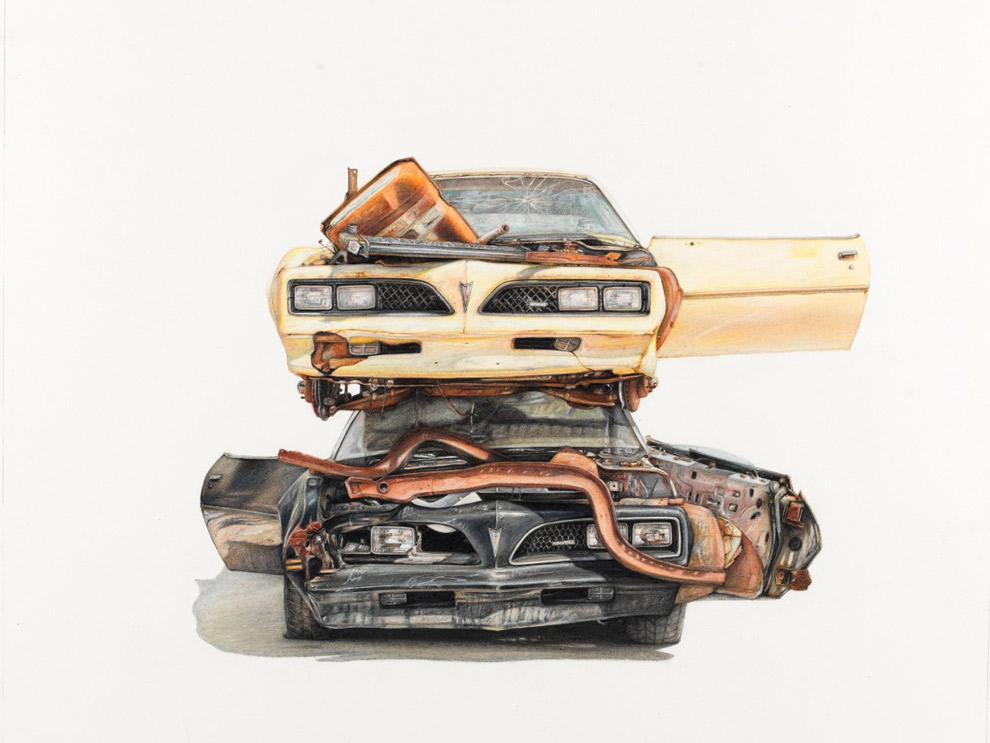 990x743 More Colored Pencil Drawings Of Junkyard Cars By Paul White (New