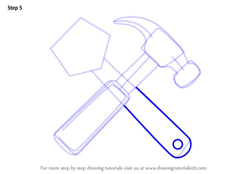 844x598 Learn How To Draw Hammer And Wrench (Tools) Step By Step Drawing