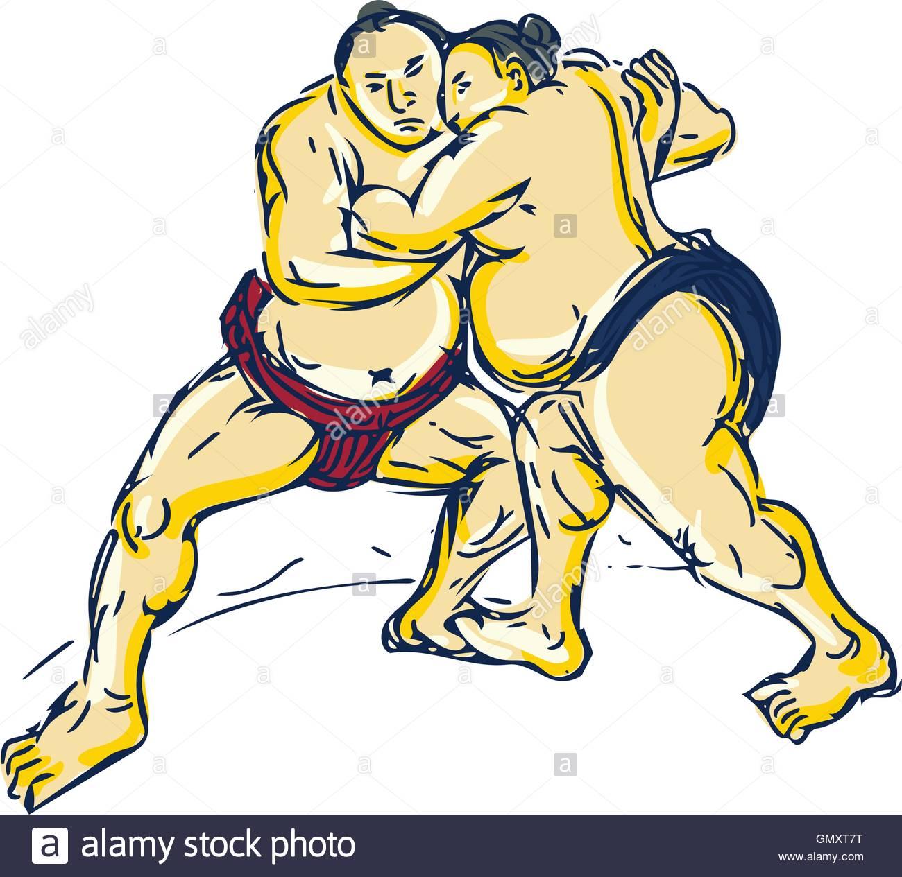 1300x1265 Japanese Sumo Wrestler Wrestling Drawing Stock Vector Art