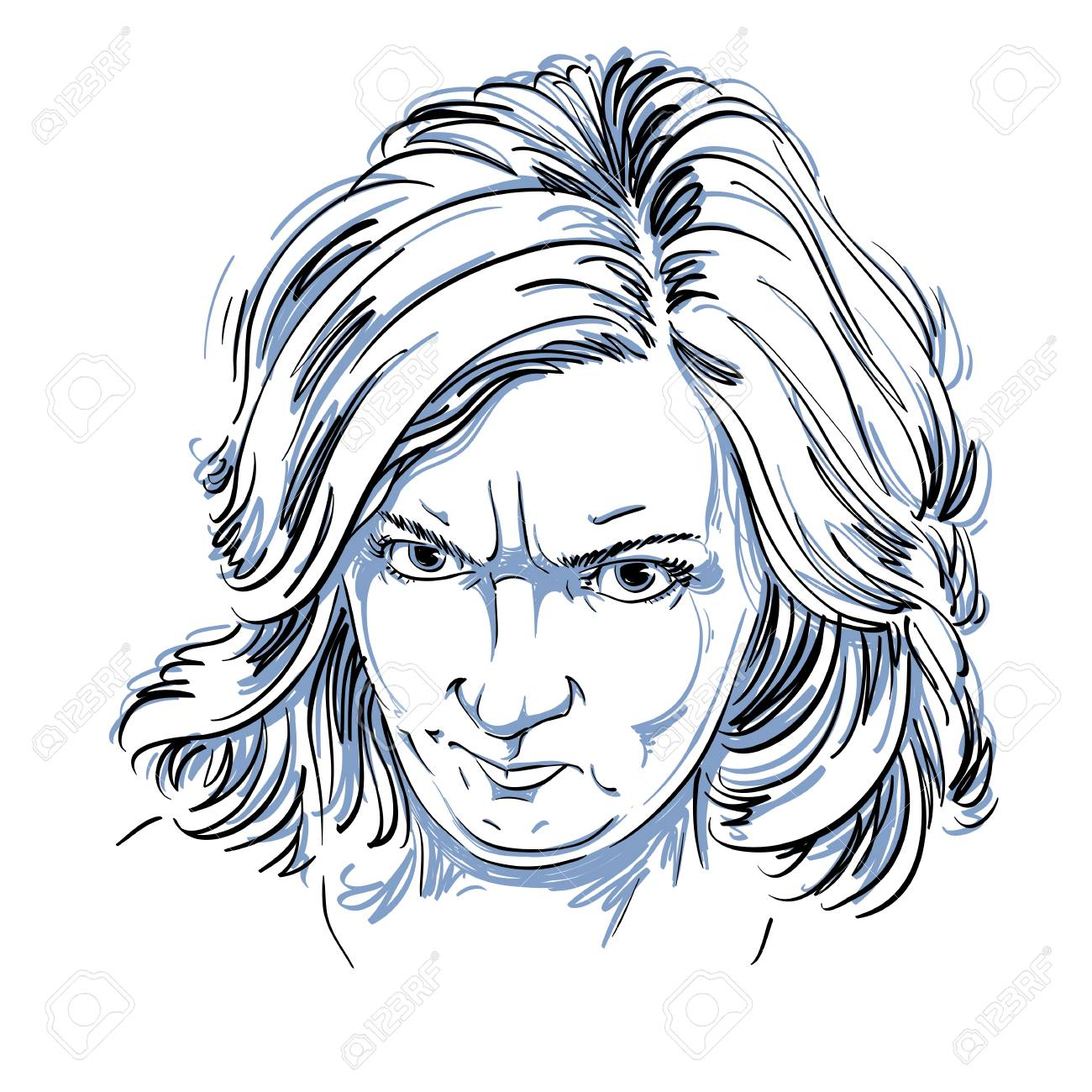 1300x1300 Vector Portrait Of Angry Woman With Wrinkles On Her Forehead