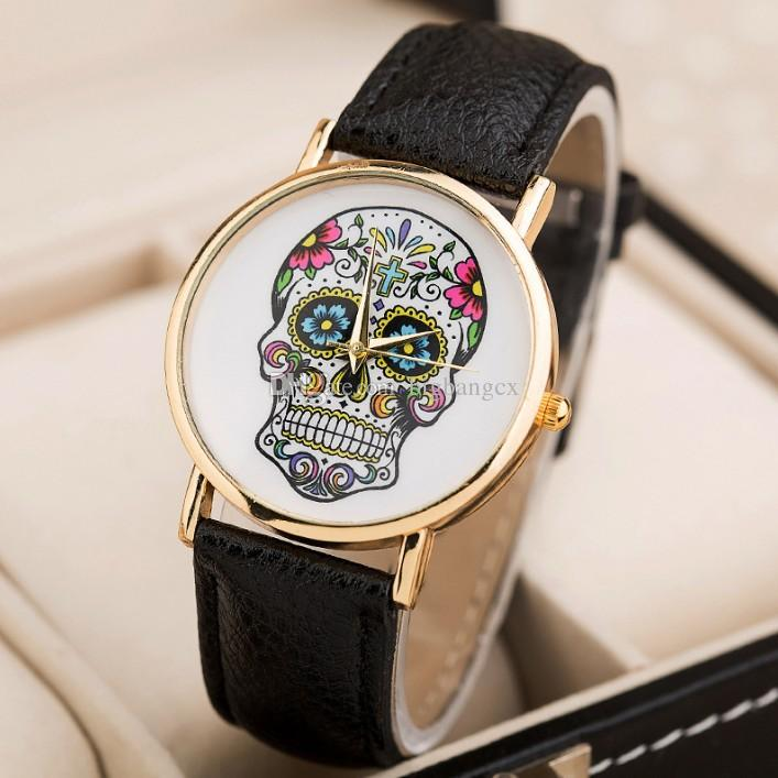 707x707 Coloured Drawing Skull Pattern Leather Wristwatch Flower Skull