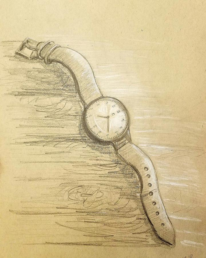 720x900 Wrist Watch On Toned Paper Worth Graphite And White Pastel Drawing