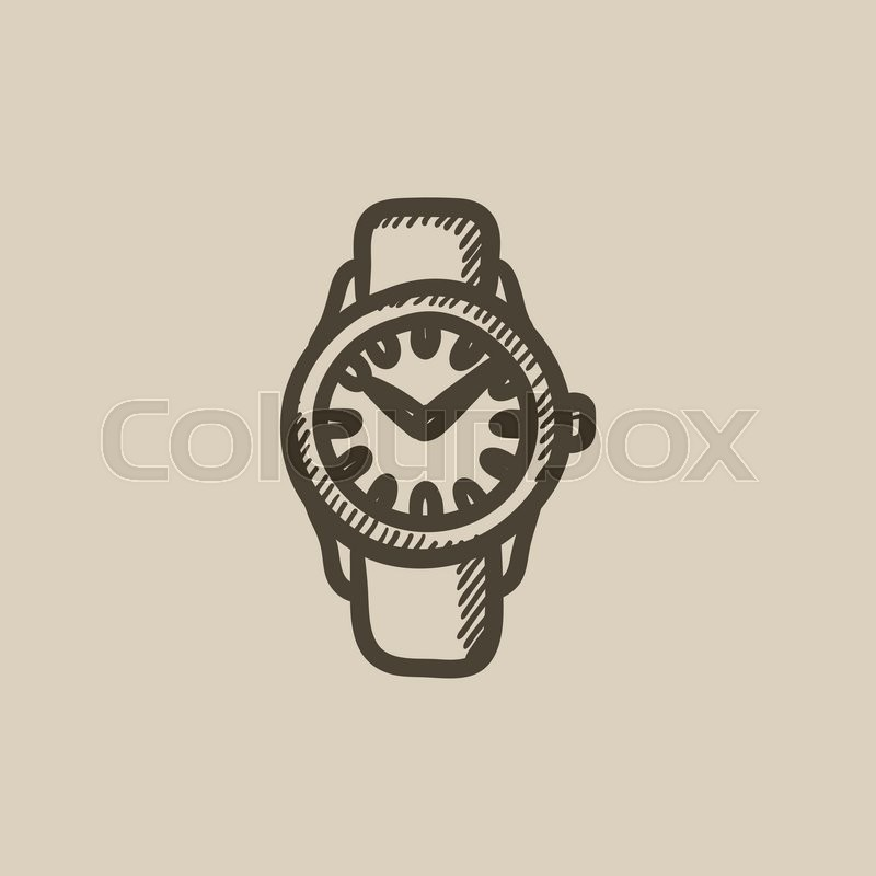 800x800 Wrist Watch Sketch Icon For Web, Mobile And Infographics. Hand