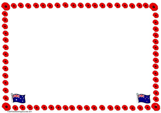 550x388nzac Day Poppy Border Template Blank Page Suitable