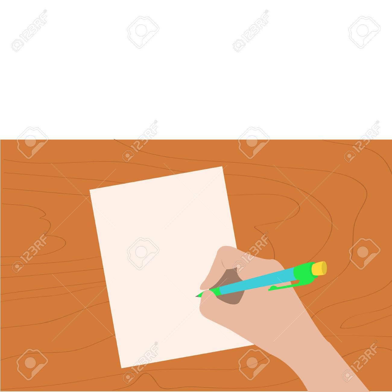 1300x1299 Hand Writing Drawing Pen. Woman Holding Pencil. Paper Sheet