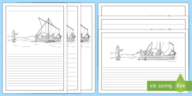 630x315 Jesus Walks On Water Bible Story Writing Template