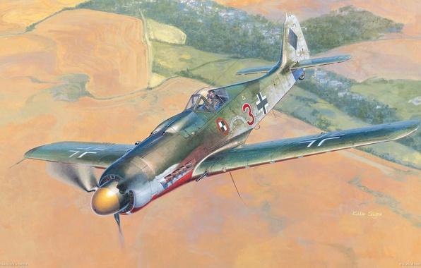 596x380 Wallpaper German Airplane, Aviation, Ww2, Painting, Mountain