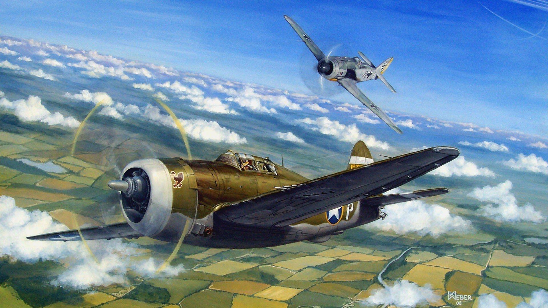 1920x1080 P 47 Thunderbolt Air Combat Dogfight Ww2 War Painting Drawing Art