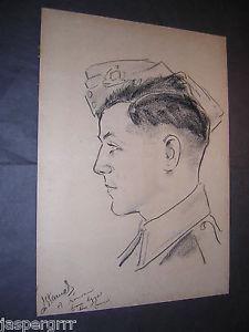 225x300 1943. Original Charcoal Drawing. Portrait. British Army. Egypt