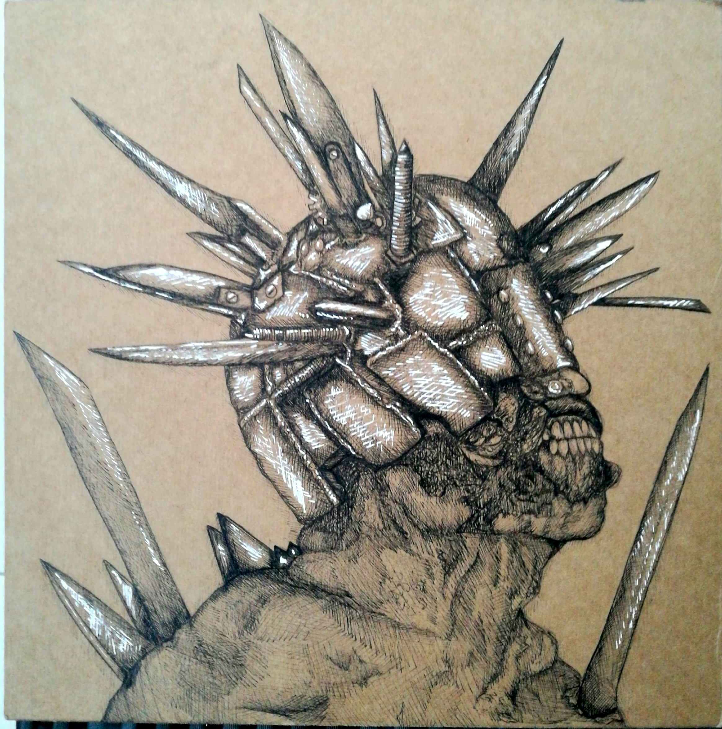 2328x2352 A Spiky Walker Drawing I Did On Some Backing Board And A Digital