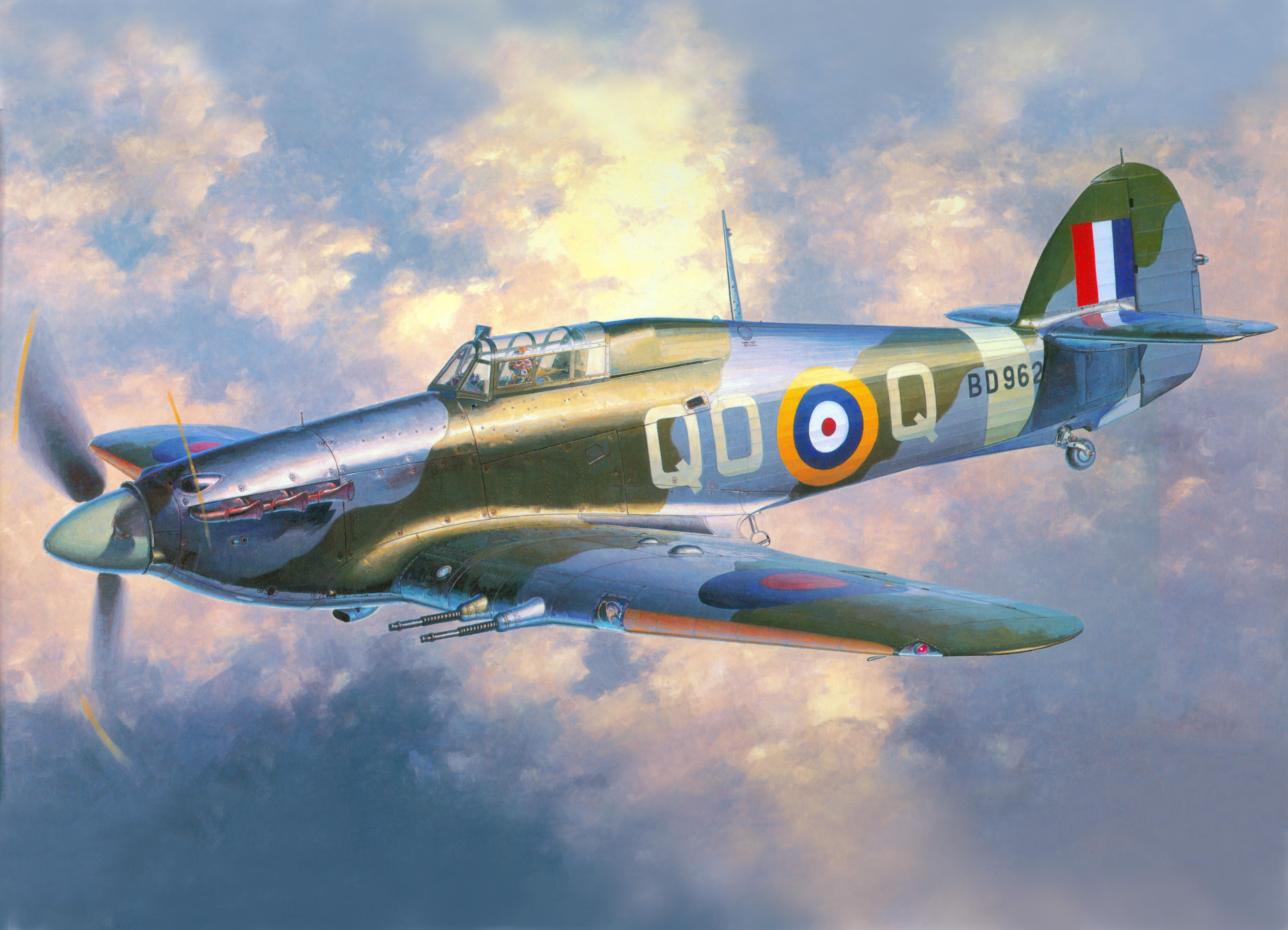 8041x5805 Drawing, British, Fighter Interceptor, Hawker Hurricane, Mk.iic
