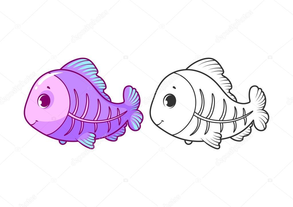 1024x724 Cute Little X Ray Fish. Stock Vector Yavi