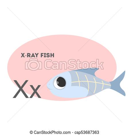 450x470 X Ray Fish On Alphabet. Letter X With Funny Animal. Clip Art