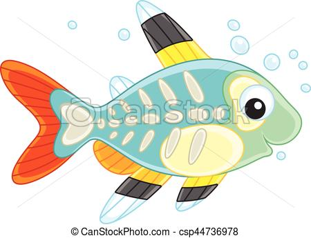 450x345 X Ray Fish. Vector Illustration Of A Small Brightly Colored