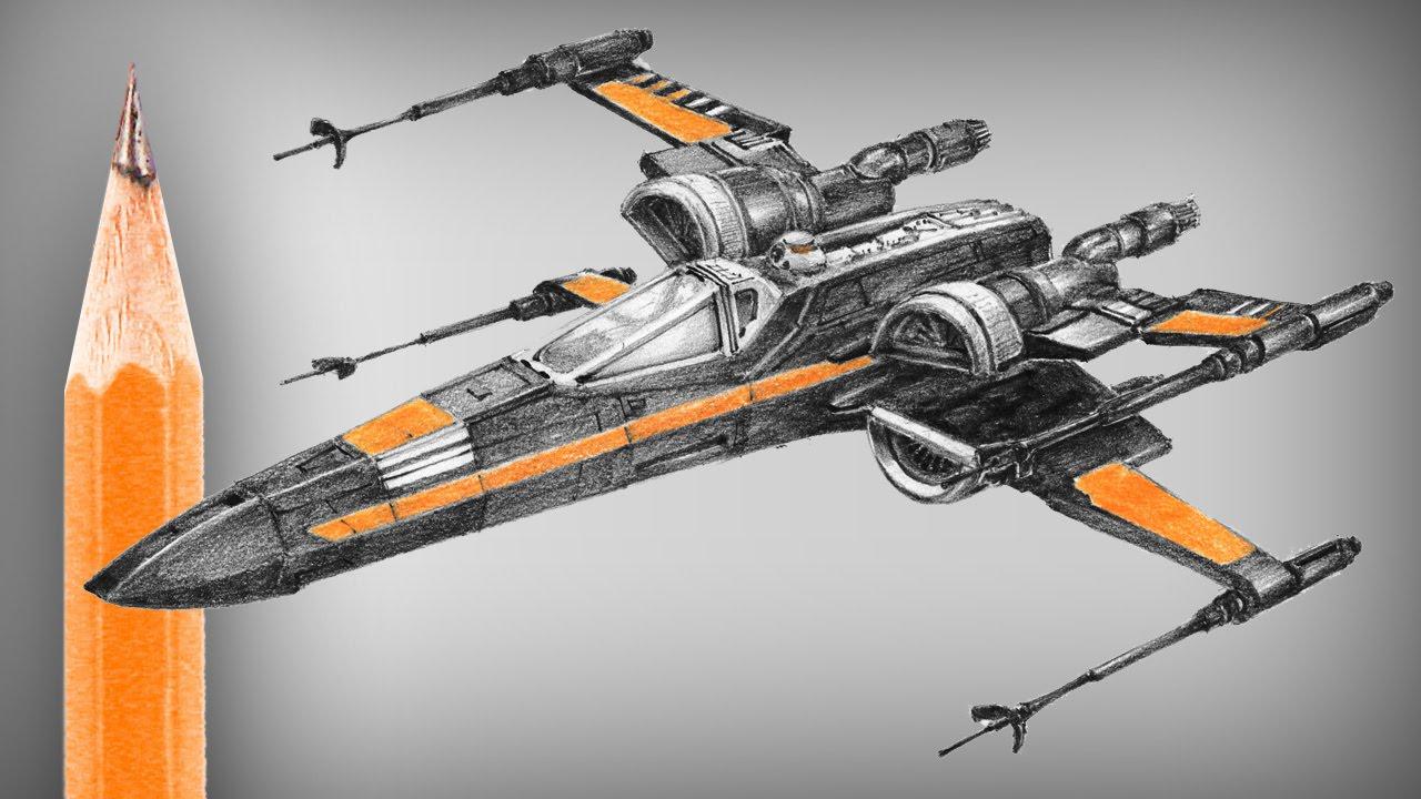 1280x720 Star Wars X Wing (New Type) Pencil Drawing