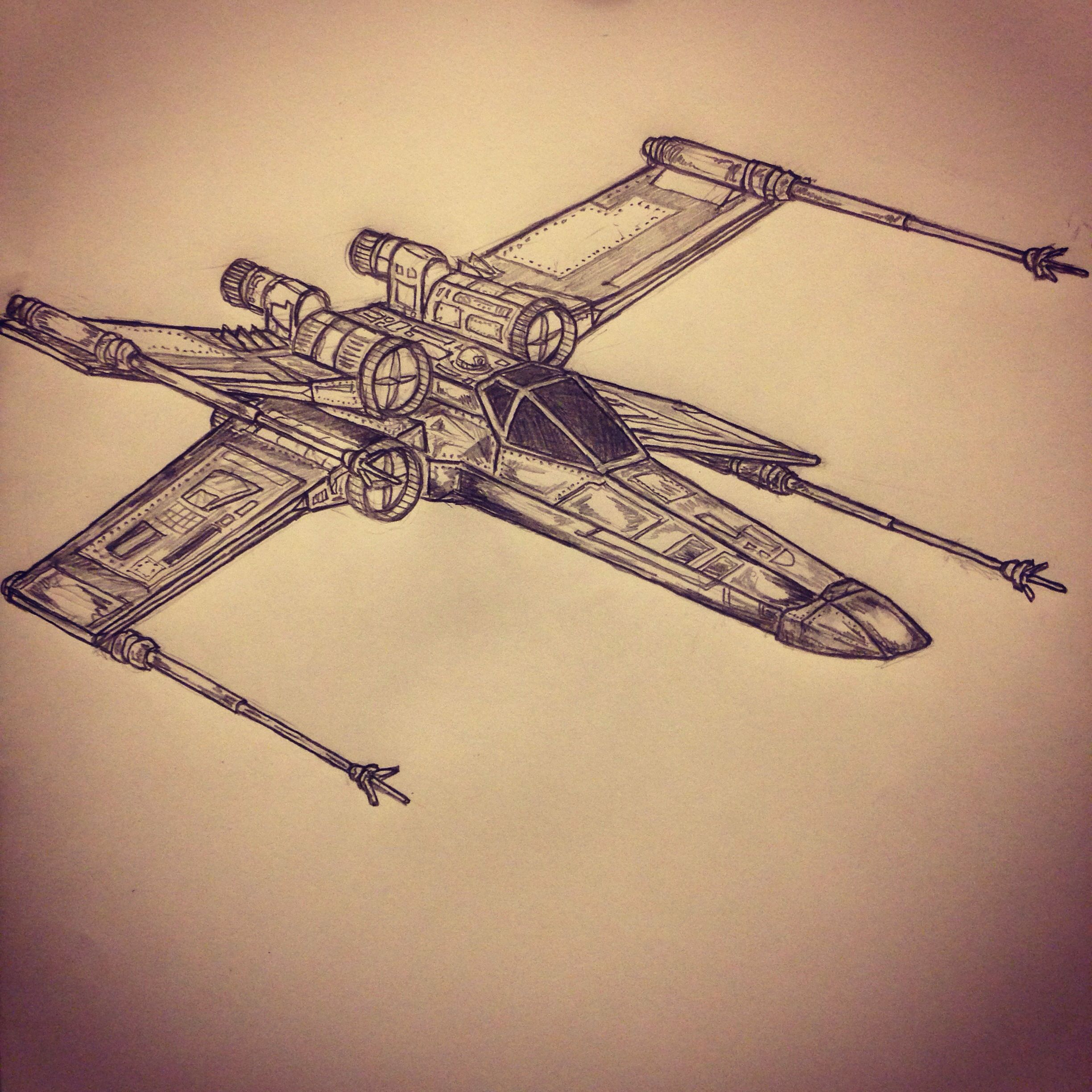 2448x2448 X Wing Fighter Star Wars Tattoo Sketch By