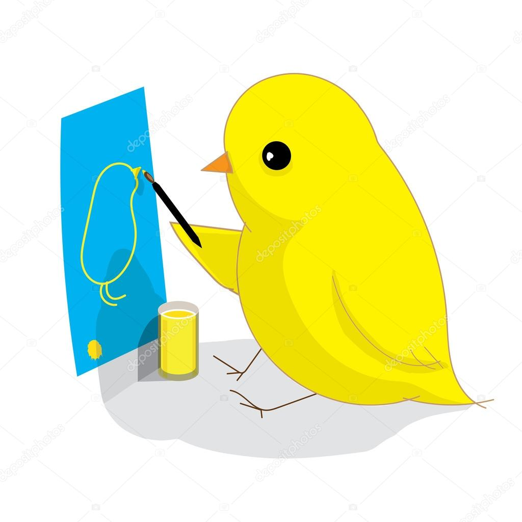1024x1024 Yellow Bird Drawing Itself Stock Vector Tekla.pototska.yahoo