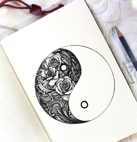 483x500 Roses, Black And White, Ying Yang, Art, Draw Tattoos I Want