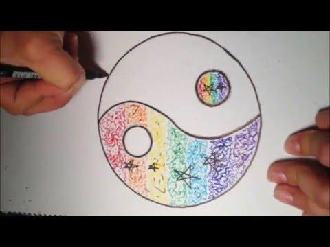 480x360 Colorful Yin Yang Symbol Drawing