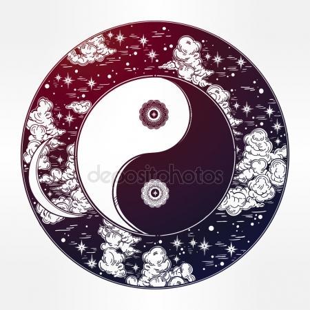 450x450 Drawing Of A Night Sky With Yin Yang Boho Symbol. Stock Vector