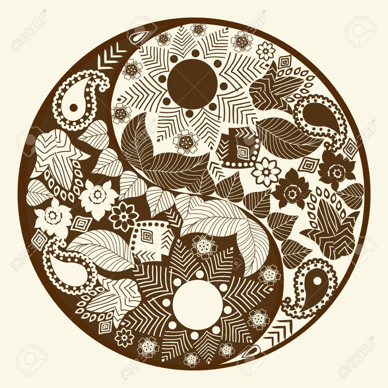1300x1300 Yin Yang Symbol, Asian Decoration Element Pattern On White
