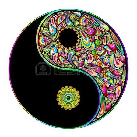 450x450 Yin Yang Symbol Psychedelic Art Design Stock Vector Yin Yang
