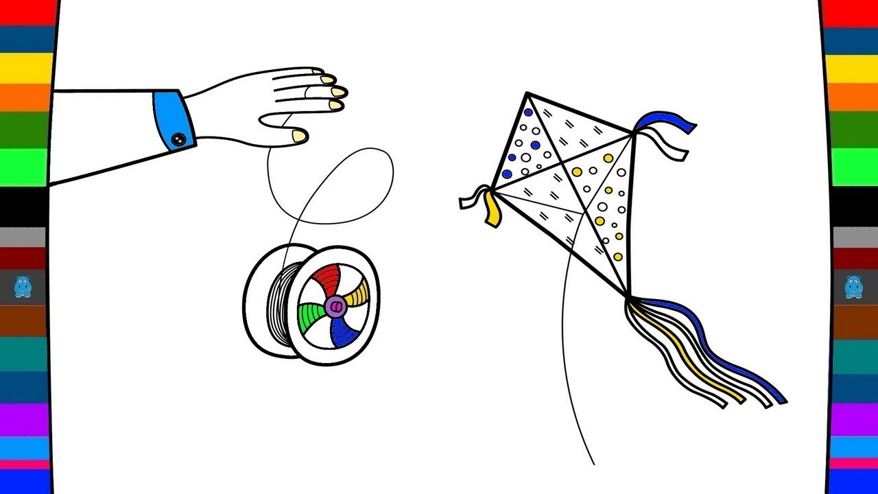 1280x720 How To Draw Kite And Yo Yo Drawing And Coloring Pages For Kids