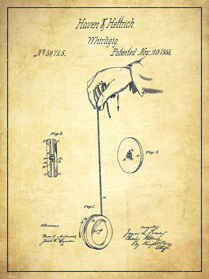 675x900 Vintage Yoyo Patent Drawing From 1866