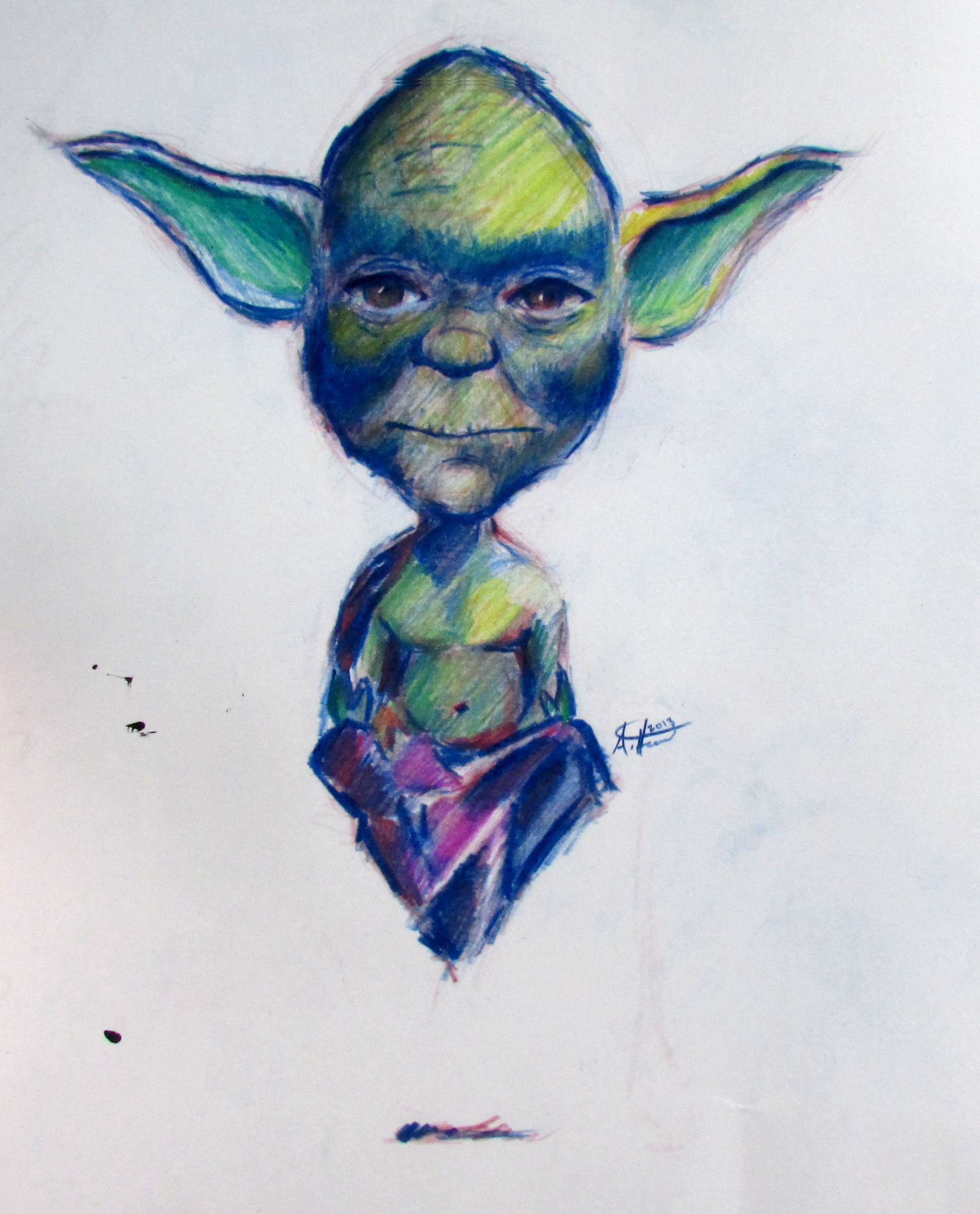 1907x2362 Yoda On The Rise, A Colored Pencil Drawing Of Yoda Levitating