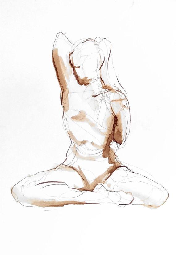 570x824 Tricep Stretch Yoga Drawing Walnut Ink On Paper Yoga Wall