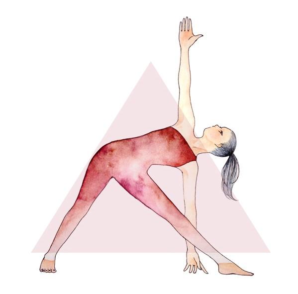 599x591 Yoga Drawing Triangle (Trikonasana) Yoga Pose