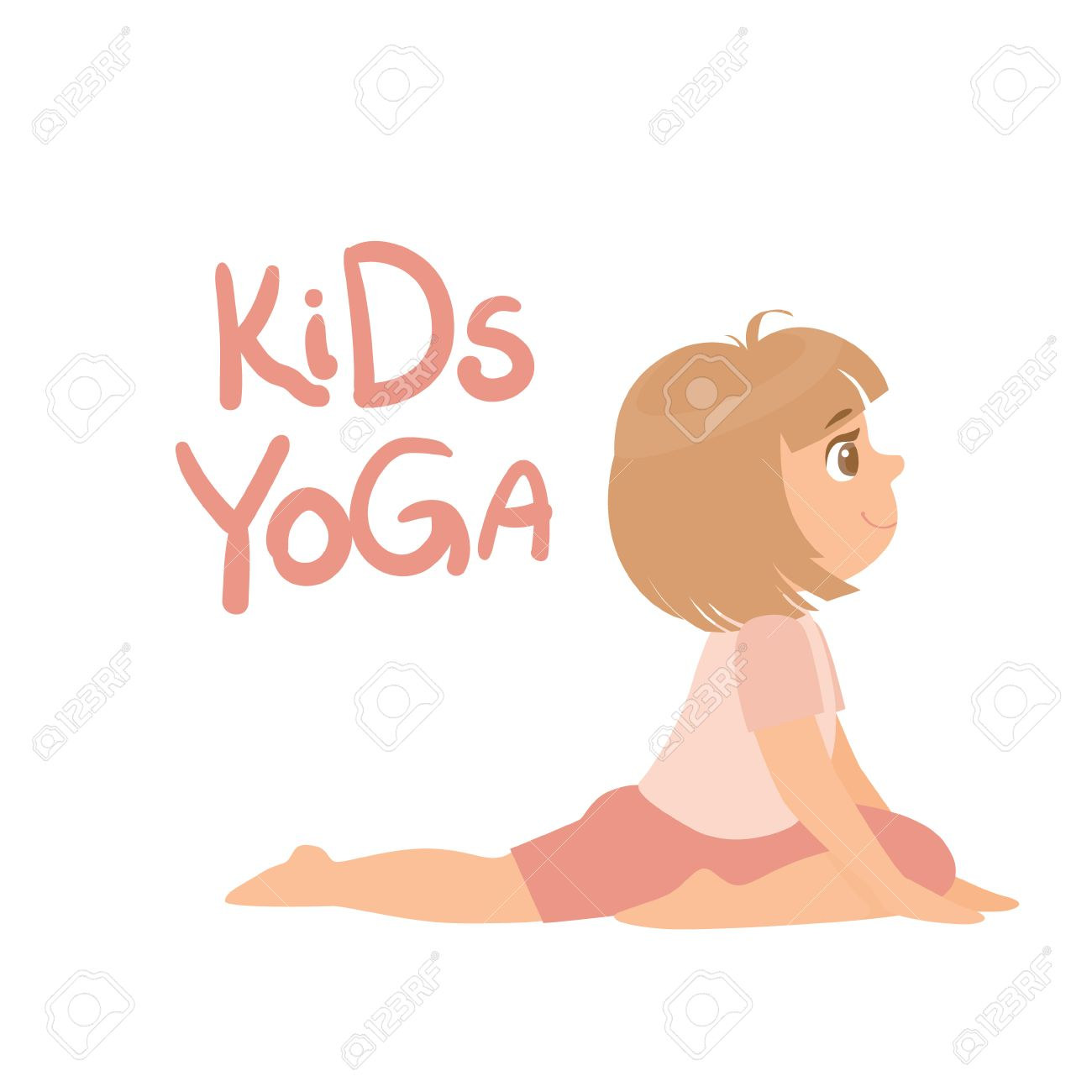 1300x1300 Girl In Yoga Pose With Kids Yoga Bright Color Cartoon Childish