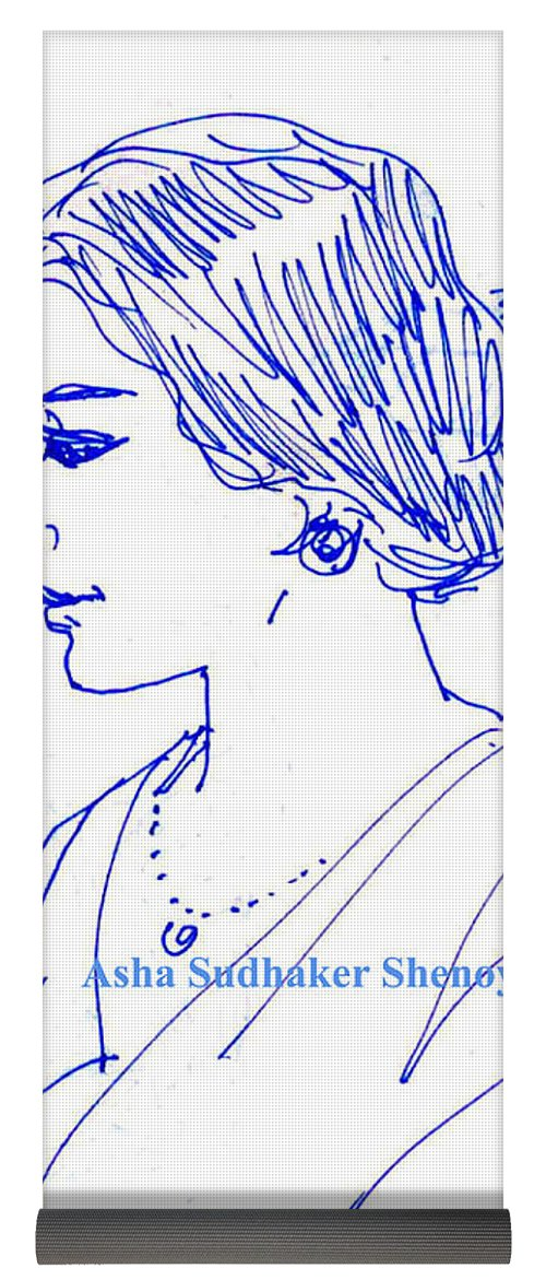 500x1171 An Indian Lady In Sari Yoga Mat For Sale By Asha Sudhaker Shenoy