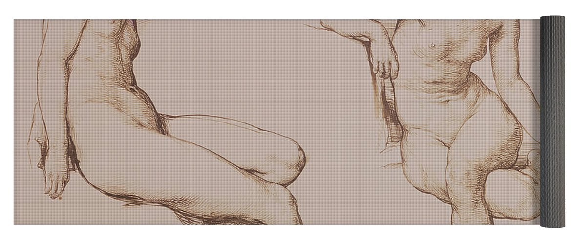 1171x500 Sepia Drawing Of Nude Woman Yoga Mat For Sale By William Mulready