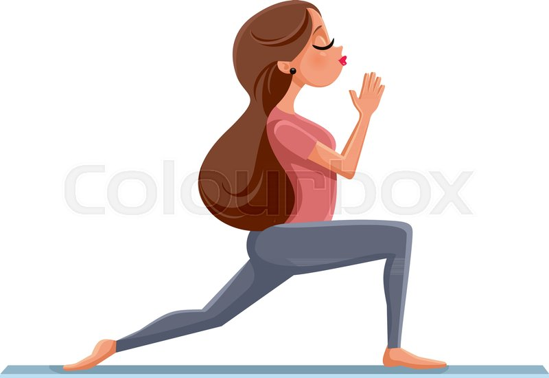 800x550 Vector Drawing Of A Fitness Woman In Pilates Position On Yoga Mat