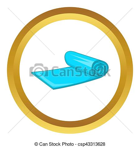 450x470 Yoga Mat Icon In Golden Circle, Cartoon Style Isolated On Clip