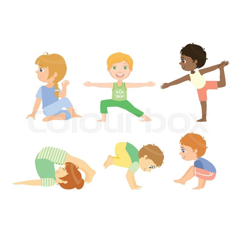 800x800 Kids Doing Advanced Yoga Poses Bright Color Cartoon Childish Style