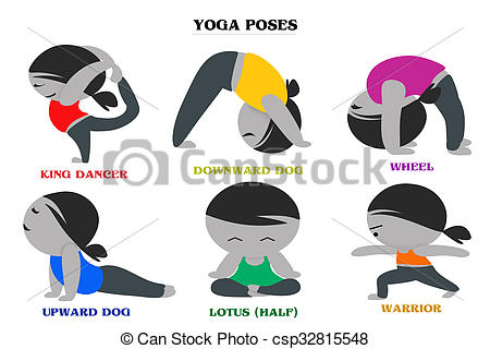 450x320 Yoga Poses And Names Cartoon Background Set Of