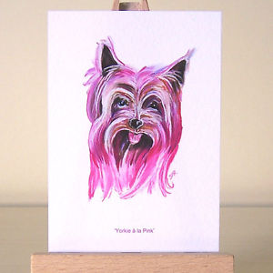 300x300 Pink Yorkie Drawing Yorkshire Terrier Aceo Dog Art Card Ebay
