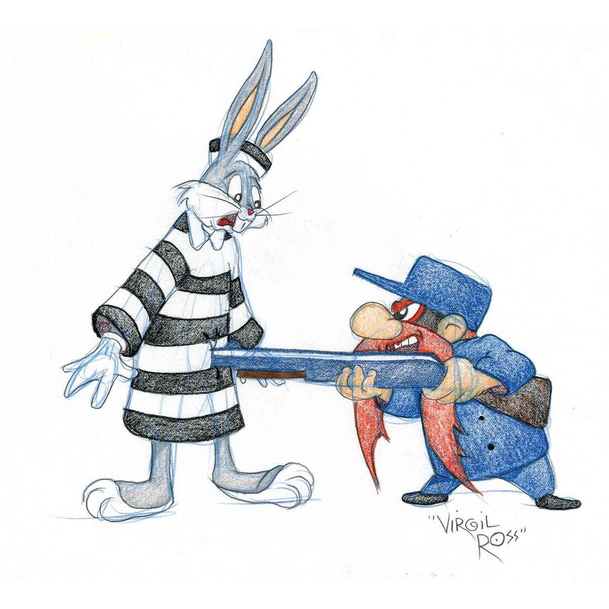 1200x1200 Bugs Bunny And Yosemite Sam Original Virgil Ross Drawing