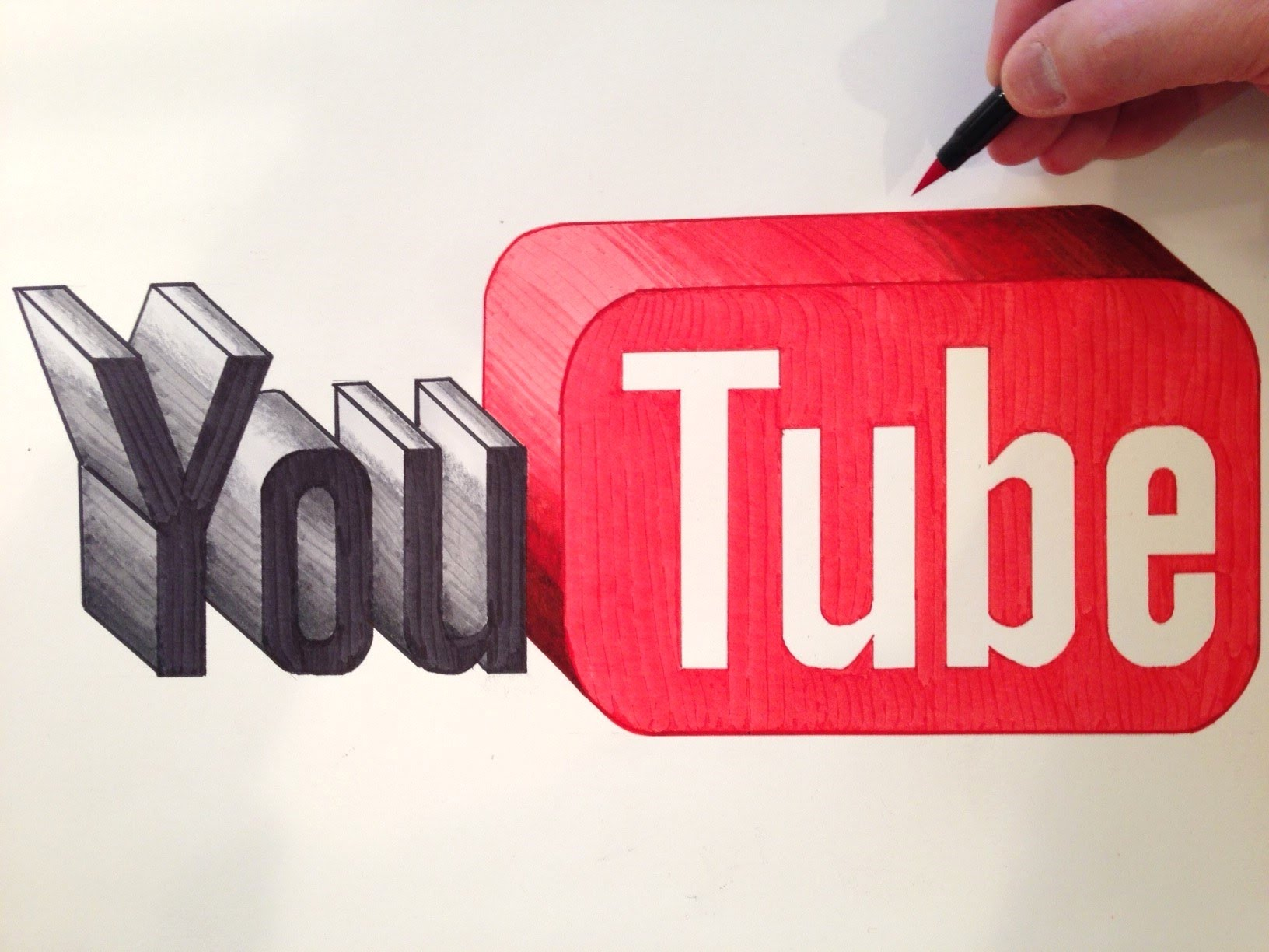 1632x1224 How To Draw The Youtube Logo In 3d